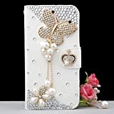 Moonmini White Luxury 3D Fashion Elegant Handmade Bling Diamond Crystal Rhinestone Butterfly with Pearl Chain Pendant Crown Magnet Design PU Leather Case Flip Cover For Smart Mobile Phones Alcatel One Touch Idol Alpha OT6032