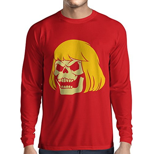 N4411L Long Sleeve t Shirt Men Blonde Skull (Small Red Multi (Sandlot Halloween)