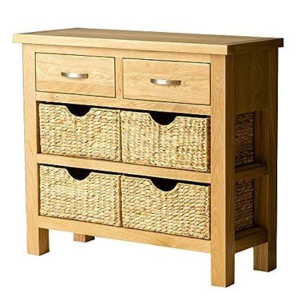 Roseland Furniture Ltd London Oak Console Table With Baskets   Hall Table    Storage: Amazon.co.uk: Kitchen U0026 Home