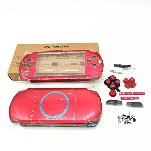 Psp Faceplates Buttons (Meijunter Replacement Full Housing Shell Faceplate Case Cover Repair Part w/Button Set for Playstation Portable PSP3000 PSP 3000 Red)
