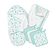 SwaddleMe Baby Bath 5 Piece Gift Set, Striped Whales, One Size