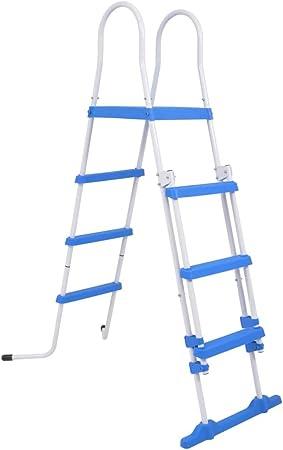 UnfadeMemory Escalera de Seguridad para Piscinas Elevadas,Estructura Acero y Peldaños de Plástico,Azul y Blanco (Altura de Piscina Adecuada 107-122cm): Amazon.es: Hogar