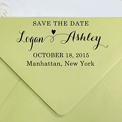 Custom Save The Date Wedding Invite Stamp RSVP Self Inking Rubber Stamp Design By Printtoo