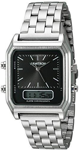 Armitron Men's 20/5124BKSV Analog-Digital Chronograph Silver-Tone Bracelet Watch