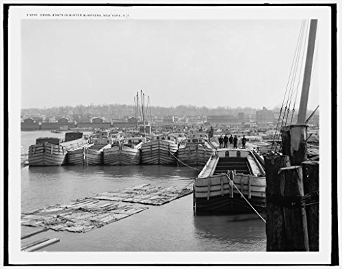 Vintography 16 x 20 Ready to Hang Canvas Wrap Canal Boats in Winter Quarters New York N Y 1900 Detriot Publishing 71a
