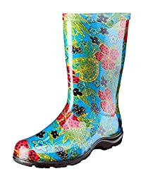 Principle Plastics Sloggers Women's Rain and Garden Boot with All-Day-Comfort Insole, Midsummer Blue Print-Wo's Size 9-Style 5002BL09