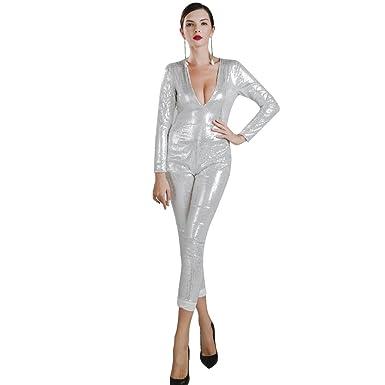 b0475634390f Amazon.com  Missord Women Sexy deep v long sleeve sequin zipper Jumpsuit   Clothing