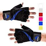Achieve Fit Weightlifting Gloves - Firm Grip, Control & Comfort for Weight lifting, Crossfit Training, Gym Workout - Standard or With Wrist Wraps (PAIR) (Large, Wrist Wraps - Black/Blue)