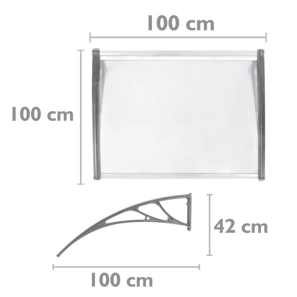 PrimeMatik Tejadillo de protecci/ón 100x100cm Marquesina para Puertas y Ventanas Gris