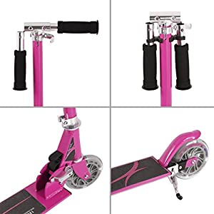 Kick Scooter, 2 Big Wheels Easy-Folding Adjustable Handle Bars with Dual Suspension, Street Push Scooter for City Urban Adult Teen Riders, Supports 220lbs Weight - Smooth & Fast Ride(Red)