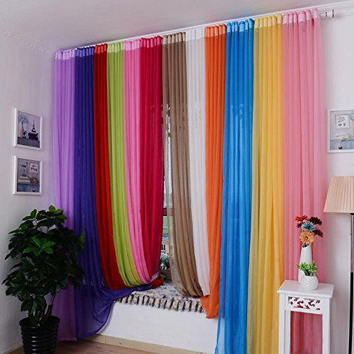 Valances Colors Floral Tulle Voile Door Window Curtain Drape Panel Sheer (lake blue) - Silver Lake Ceiling Fan