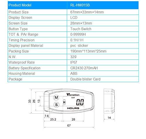 vibrazione attivata uso per generatore e motore tosaerba ATV marino generatore timer lavoro ripristinabile Contaore digitale wireless Runleader spegnimento blocco utente promemoria manutenzione