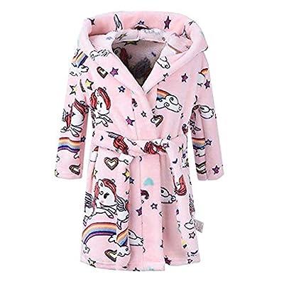 Toddler Kids Long Sleeve Bathrobe Fleece Print Flannel Hoodie Towel Pajamas Cute Home Robe Sleepwear