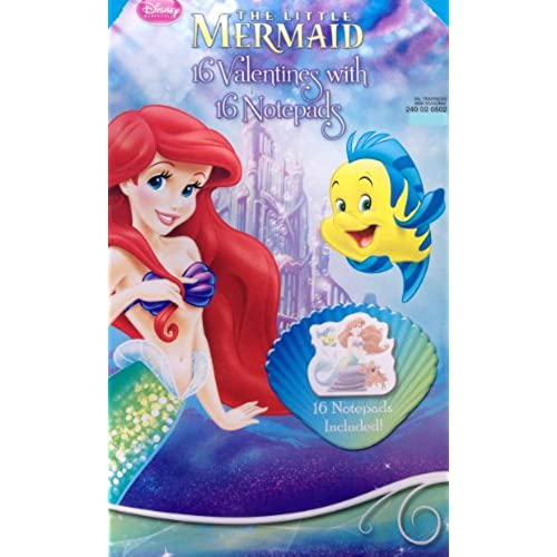 Disney Little Mermaid Valentines with 16 Notepads Sales