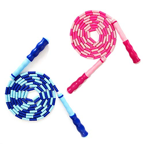JAWENJOY Jump Rope Soft Beaded Tangle-Free Segmented Length Adjustable Skipping Rope for Men Women and Kids Ideal for…