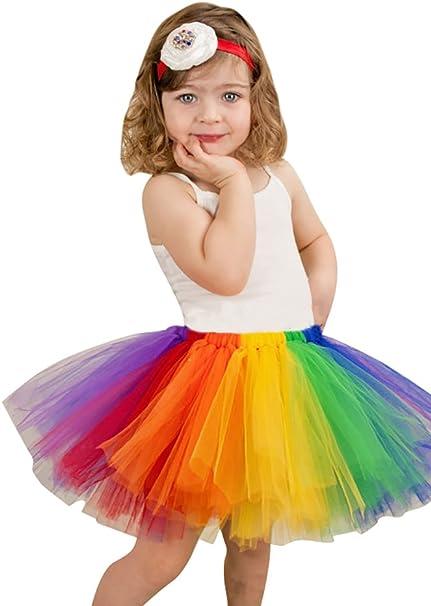 NiSeng Arco Iris Capas Partido Danza Enagua de Tul Tutú Falda de ...