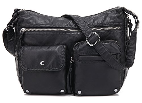 Scarleton Soft Washed Multi Zip Crossbody Bag H180001 - Black - Multi Pocket Zip