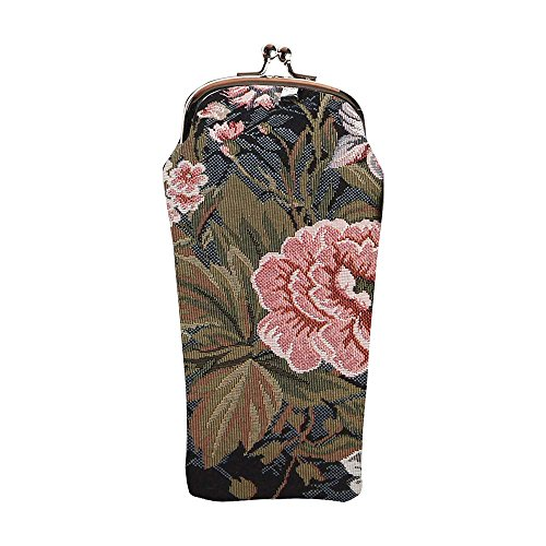 Signare Tapestry Navy & Pink Eyeglasses Pouch Sunglasses Bag Spectacle Pouch with Peony Flower in Black Background GPCH-PEO) ()