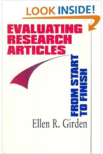 Evaluating Research Articles from Start to Finish by Ellen R. (Robinson) Girden (1996-08-06)