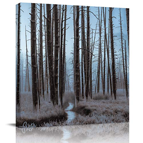 TAOGAN Canvas Print Wall Art Dead Forest On Foggy Day Oil Paintings Printed On Canvas Giclee Pictures Paintings Stretched and for Home Decor 24x24in]()