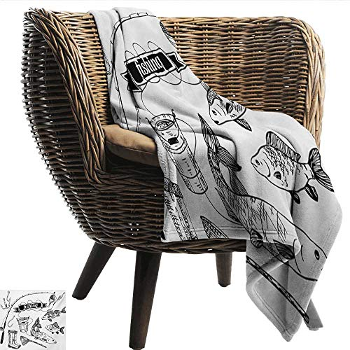 EwaskyOnline Fishing Travel Blanket Hand Drawn Fishing for sale  Delivered anywhere in USA