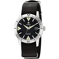 Zodiac Men's 'Super Sea Wolf 53 Skin' Swiss Automatic Stainless Steel and Leather Casual Watch, Color:Black (Model: ZO9203)