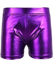 iiniim Girls Kids Wet Look Shiny Metallic Dance Shorts Bottoms Gymnastics Dancewear