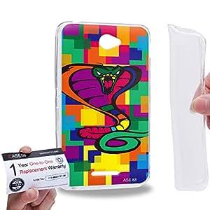 Case88 [Sony Xperia E4 / E4 Dual] Gel TPU Carcasa/Funda & Tarjeta de garantía - Art Drawing Cobra Kawaii Abstract Animals