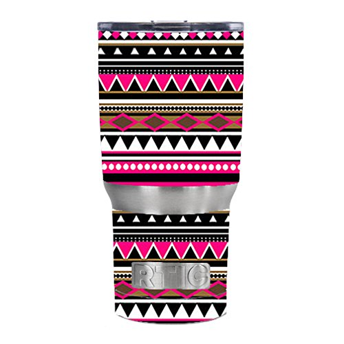 Skin Decal Vinyl Wrap for RTIC 20 oz Tumbler Cup Skins Stickers Cover / Pink Aztec indian chevron