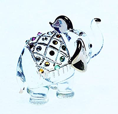 ChangThai Design Elephant Figure Dollhouse Miniatures Animals Swarovski Crystal Collectible Figurine