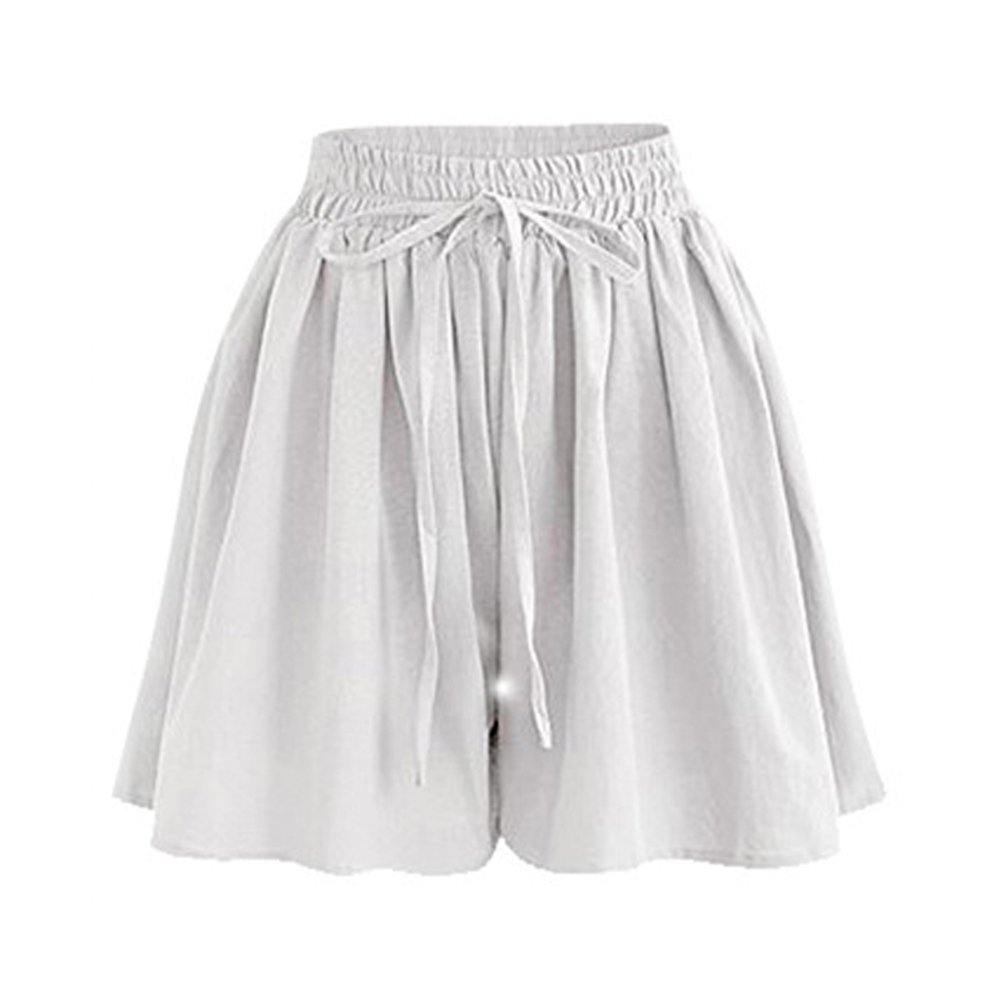 Women's Summer Decorative Drawstring Wide Leg Chiffon Shorts High Waist Culottes Shorts White Tag 6XL-US 16 by Gooket (Image #1)