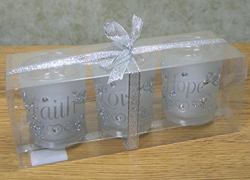 Decorative Glass Votive Holders – FAITH HOPE LOVE Frosted Glass Candle Holders – Silver Glitter Hearts & Crystals – Set of 3 Assorted – Three Flameless Flickering LED Candles Included