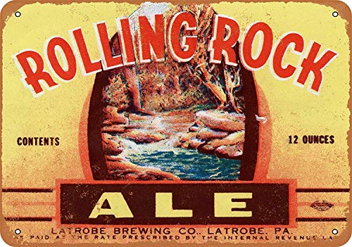 GABRIEL ROBERTSON Wall Tin Sign - Rolling Rock Ale - Retro Iron Painting Vintage Plaque Decoration Warning Metal Sheet Personalized Poster for Cafe Bar Garage Home
