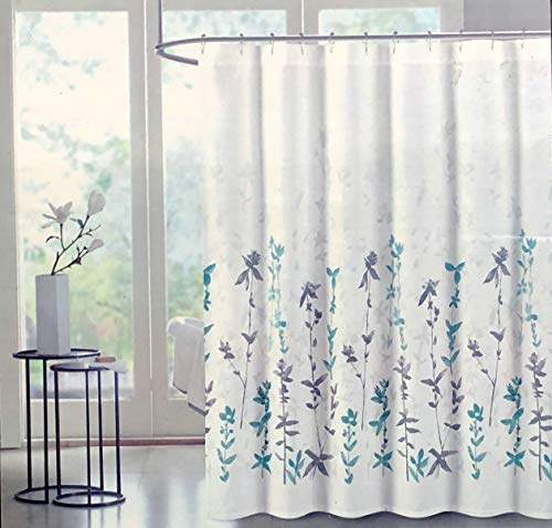 Tahari Fabric Shower Curtain Gray Taupe Blue Turquoise Watercolor Floral Pattern - Alba