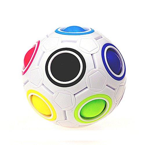 ILUCI Rainbow Ball Magic Cube Fidget Toy Stress Reliever Puzzle Magic Rainbow Ball Puzzle Fun Fidget - Stress Ball Pen Globe