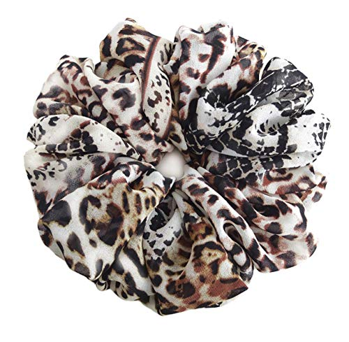 Gray Brown Animal Print Scrunchies for Hair Large Chiffon Tropical Accessories Headband Ponytail Holder Gift for Teen Girls Women