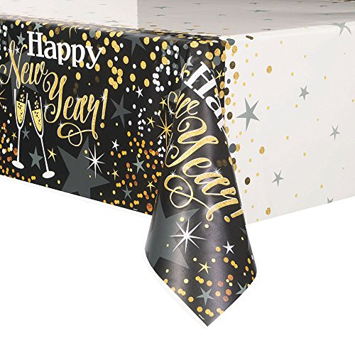 Unique Industries 58053 Glittering New Year Plastic Tablecloth, 84