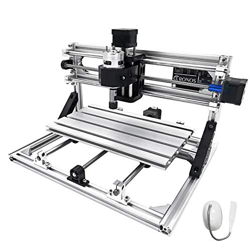 Mophorn CNC Machine 3018 Grbl Control CNC Router Kit 3 Axis PCB Wood Carving Milling Machine 300X180X45mm with Er11 + 5mm Extension Rod + Table Lamp
