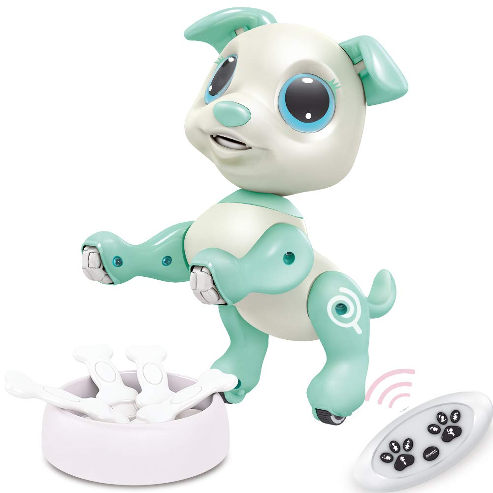 BIRANCO. RC Dog, Electronic Pets - Remote Control, Gesture Control, STEM Programmable Actions, Walk and Bark, Fun Puppy Toys for Boys and Girls, Ages 3 and Up (White)