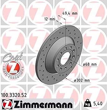 ZIMMERMANN Bremsbel/äge hinten Kl/ötze Bremse Bremsenkit Komplettset Hinterachse ZIMMERMANN Sport Coat Z Bremsscheiben gelocht