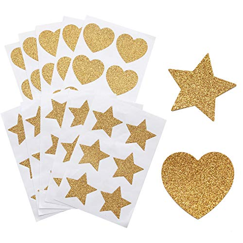 JETEHO 10Sheet 60Pcs Gold Glitter Heart Stickers and Gold Glitter Star Stickers for Kid's Arts Craft Supplies Greeting Cards Home Decoration DIY Craft Ornament ()