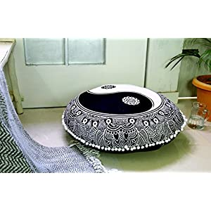 Popular Handicrafts Large Black and White Hippie Mandala Ying Yang Floor Pillow Cover – Cushion Cover – Pouf Cover Round Bohemian Yoga Decor Floor Cushion Case- 32″