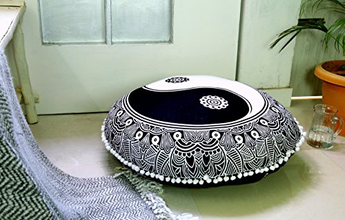 Popular Handicrafts Large Black and White Hippie Mandala Ying Yang Floor Pillow Cover - Cushion Cover - Pouf Cover Round Bohemian Yoga Decor Floor Cushion Case- 32