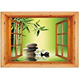 iPrint 3D Depth Illusion Vinyl Wall Decal Sticker [ Bamboo Spa Decor,Japanese Therapy Relaxation Stones Frangipani Flowers, Window Frame Style Home Decor Art Removable Wall Sticker