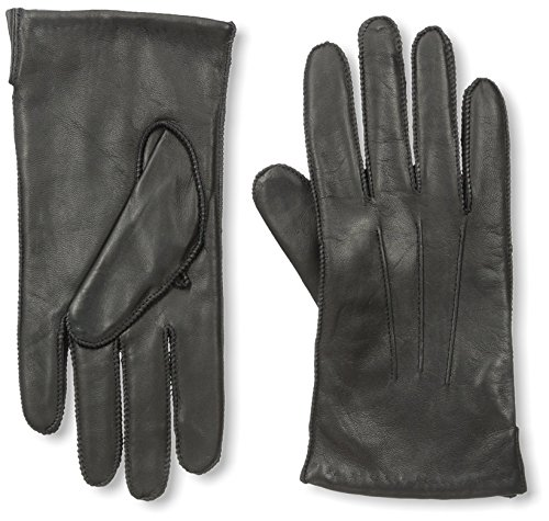 Portolano Men's Cashmere Lined Nappa Gloves with Ship Stitch, Black, - Cashmere Portolano