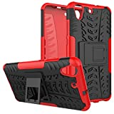 HUAWEI Y6II Case Armor DWaybox Hybrid Rugged Heavy Duty Hard Back Cover Case for HUAWEI Y6II / Y6 II / Y6 2 (2016) / Honor Holly 3 / Honor 5A 5.5 Inch Stand Case with Kickstand (Red)
