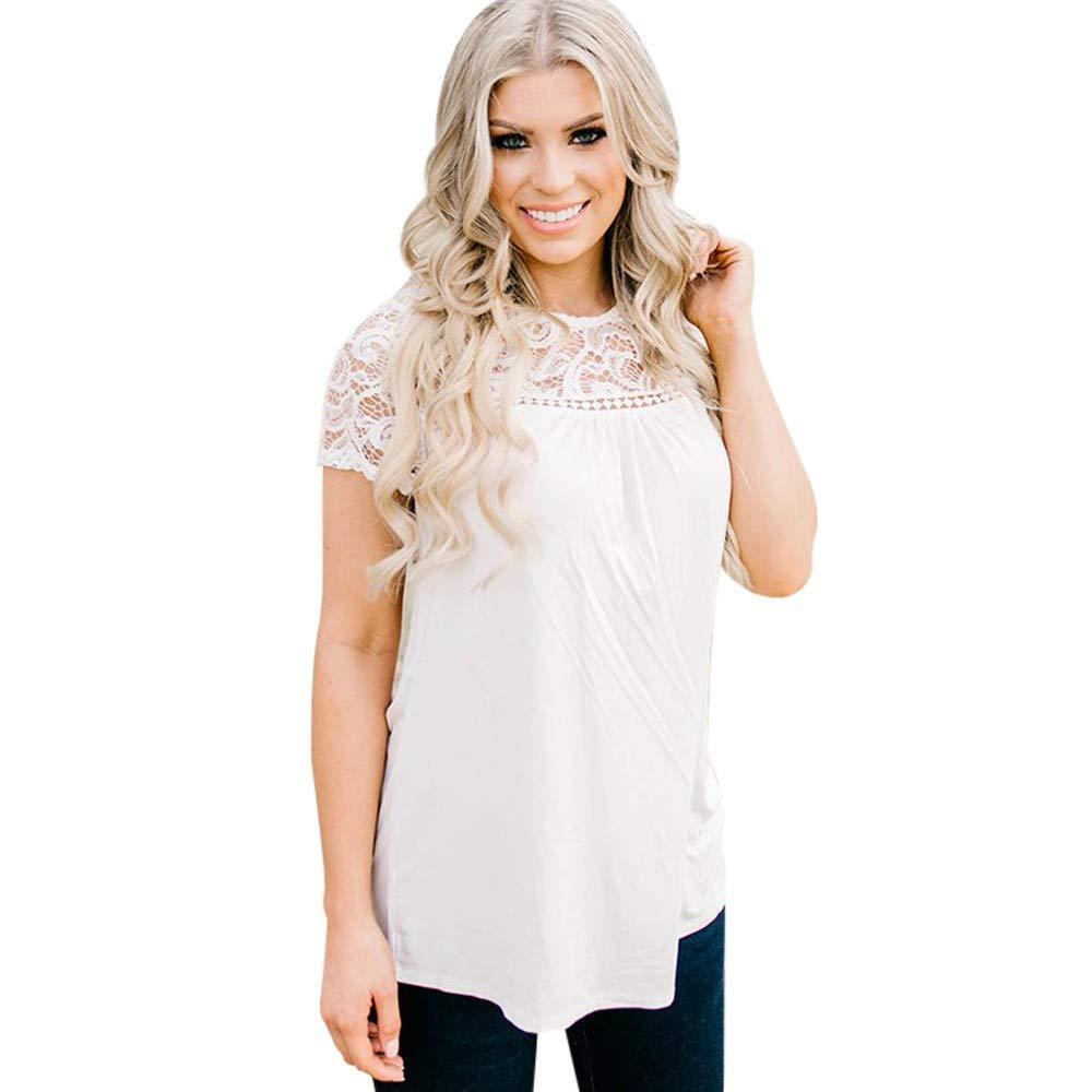 Quealent Womens Casual Curved Hem Long Sleeve T Shirt V Neck Side Slit Blouse White