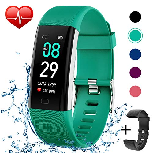 (Fitness Tracker IP68 Waterproof Activity Tracker Fitness Watch with Heart Rate Blood Pressure Monitor Step Counter Calorie Counter Pedometer Activity Watch Tracker for Men Women)