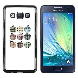 TopCaseStore / la caja del caucho duro de la cubierta de protección de la piel - Checkered Plaid Apple Pattern Minimalist - Samsung Galaxy A3 SM-A300
