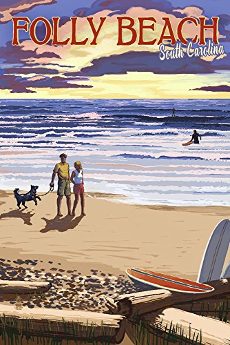 Folly Beach, South Carolina - Beach Scene and Surfers at Sunset (9x12 Fine Art Print, Home Wall Decor Artwork Poster)